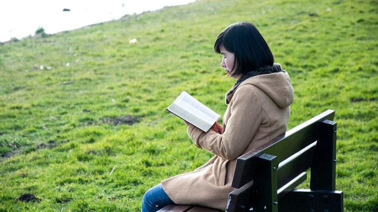 看書, 看聖經, 草地
